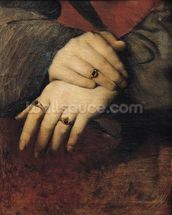 Study of a Womans Hands, after the portrait of Maddalena Doni by Raphael (oil on canvas) wall mural thumbnail