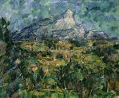 Mont Sainte-Victoire, 1904-05 (oil on canvas) wallpaper mural thumbnail