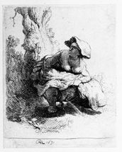 Woman urinating under a tree, 1631 (etching) wall mural thumbnail