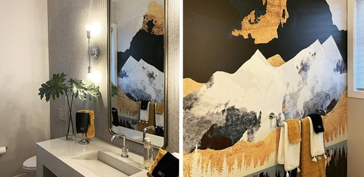 black and gold abstract mountain wallpaper in gold and black bathroom