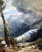 Mere de Glace, in the Valley of Chamouni, Switzerland, 1803 (w/c and graphite with gum on wove paper) wall mural thumbnail