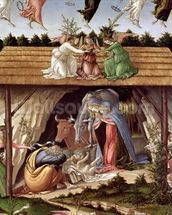 Mystic Nativity, 1500 (oil on canvas) (detail) mural wallpaper thumbnail