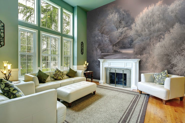 snowy trees and river wall mural in beautiful big living room