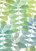 Sunshine Leaves Watercolour wall mural thumbnail