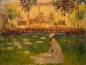 Woman in a Garden, 1876 (oil on canvas) wallpaper mural thumbnail