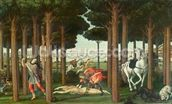 The Disembowelment of the Woman Pursued: Scene II of The Story of Nastagio degli Onesti, c.1483 (tempera on panel) wallpaper mural thumbnail