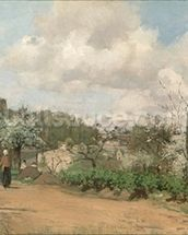 View from Louveciennes, 1869-70 (oil on canvas) mural wallpaper thumbnail