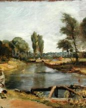 Flatford Lock, 1810-11 (oil on paper on canvas) wall mural thumbnail