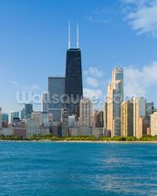Cityscape of Chicago mural wallpaper thumbnail