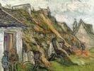 Thatched Cottages in Chaponval, Auvers-sur-Oise, 1890 (oil on canvas) wall mural thumbnail