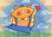 Cat and Heart mural wallpaper thumbnail