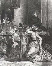 Marguerite in the Church with the Evil Spirits: illustration from Faust by Goethe, 1828 (litho) wallpaper mural thumbnail
