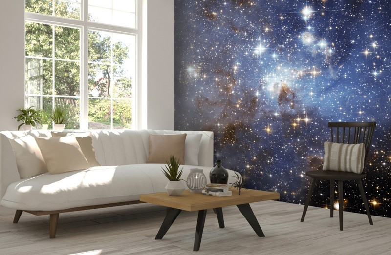 Starry-space-wallpaper-in-living-room