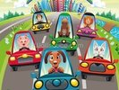 Colourful cars wall mural thumbnail