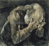 Man with his head in his hands (pencil on paper) mural wallpaper thumbnail