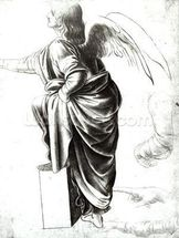 Study of an Angel (chalk on paper) (b/w photo) wallpaper mural thumbnail