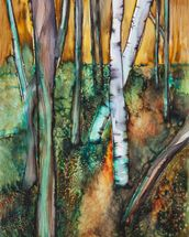 Watercolor Painting of a Colorful Forest wall mural thumbnail