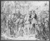 Entry of the Dauphin, the future Charles V (1337-80) into Paris, 1814 (pencil on paper) (b/w photo) wallpaper mural thumbnail
