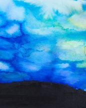 Watercolor painting of a Dramatic Sky with Blue Cloud wallpaper mural thumbnail