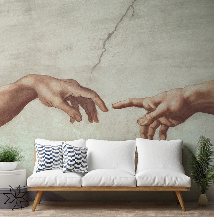 antique painting of two hands touching wallpaper in white and blue themed timeless trends lounge