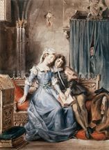 Paolo Malatesta and Francesca da Rimini (w/c on paper) wall mural thumbnail