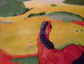 Horse in a landscape, 1910 (oil on canvas) wallpaper mural thumbnail