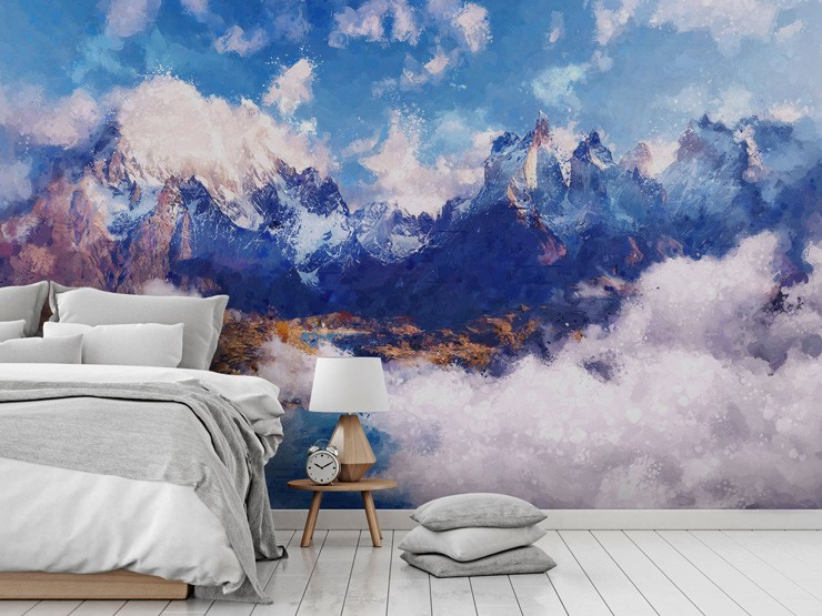 Blue landscape mural in bedroom by Tenyo Marchev