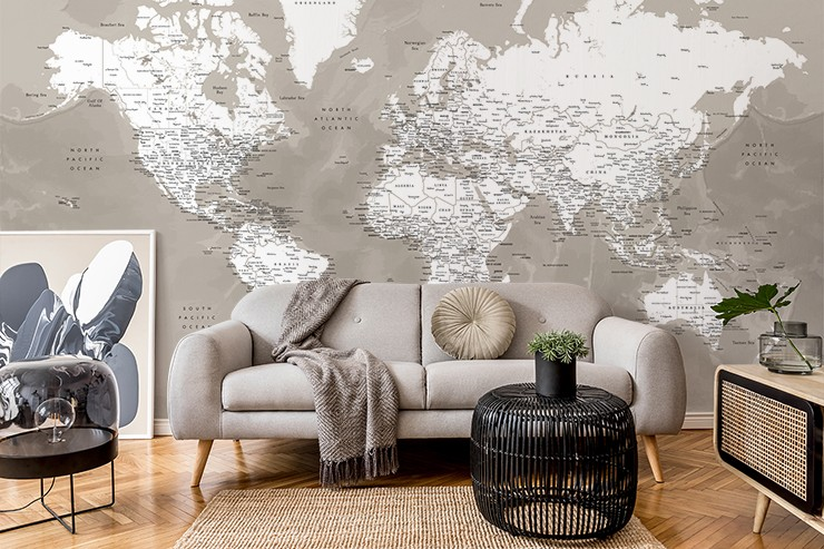 brown/beige and off white world map wallpaper in beautiful grey and beige living room