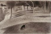 Study for Sunday Afternoon on the Island of La Grande Jatte, c.1884 (conte crayon on paper) wall mural thumbnail