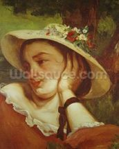 Woman in a Straw Hat with Flowers, c.1857 (oil on canvas) mural wallpaper thumbnail