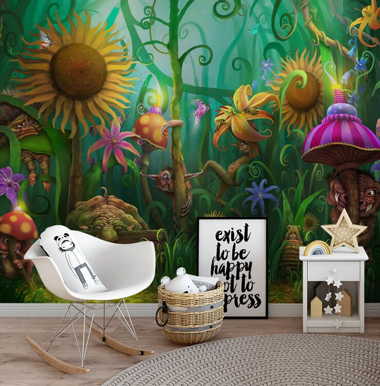 colourful fantasy trolls in magic forest wallpaper in child's play room