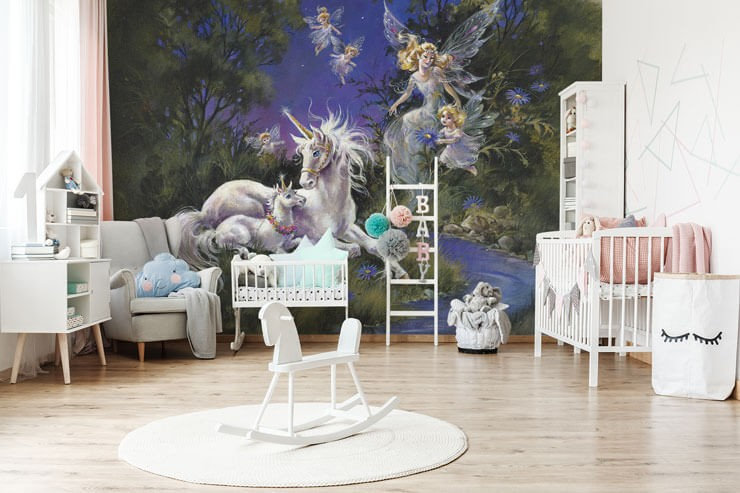 vintage illustration of unicorn mare and foal with fairy and fair child wallpaper in white, pink and blue nursery