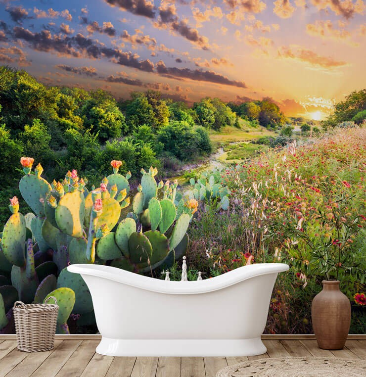 prickly pear cactus field wallpaper in bathroom
