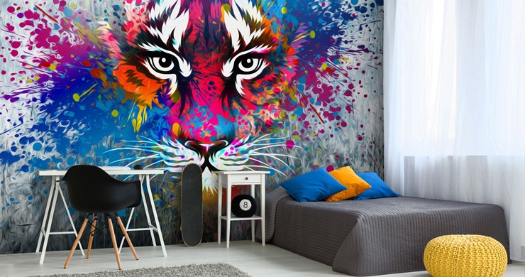 graffiti tiger wallpaper in boys bedroom