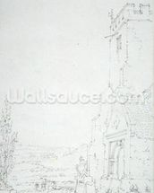 South Porch and Tower of an Unidentified Church, c.1790-95 (pencil on laid paper) mural wallpaper thumbnail