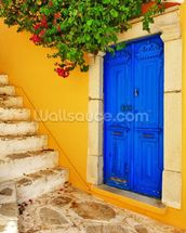 Colourful Doorway, Symi, Greece mural wallpaper thumbnail