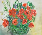 Poppy Bouquet Oil Painting wall mural thumbnail