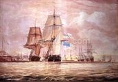 HMS Shannon leading the Chesapeake into Halifax Harbour, 1813 (w/c) mural wallpaper thumbnail