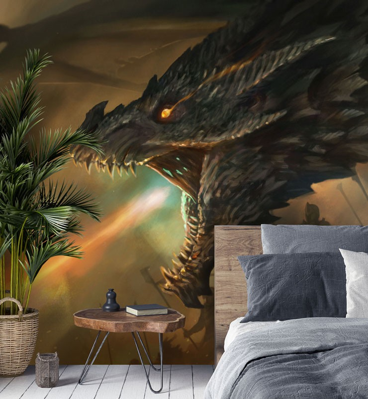 fantasy dragon and its master on battle hillside wallpaper in cool bedroom