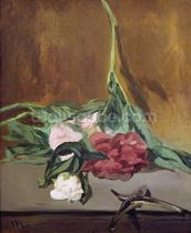 Stem of Peonies and Secateurs, c.1864 (oil on canvas) wallpaper mural thumbnail