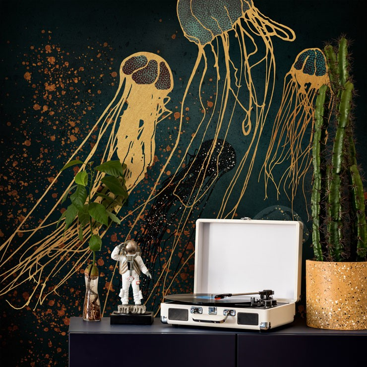 gold jellyfish on inky black background mural with record player