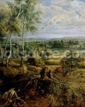 An Autumn Landscape with a view of Het Steen in the Early Morning, c.1636 (oil on panel) mural wallpaper thumbnail