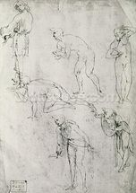 Six Figures, Study for an Epiphany (pen and ink on paper) wall mural thumbnail