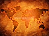 World Map on Leather wallpaper mural thumbnail