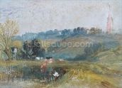 Landscape near Petworth, c.1828 (gouache) wallpaper mural thumbnail
