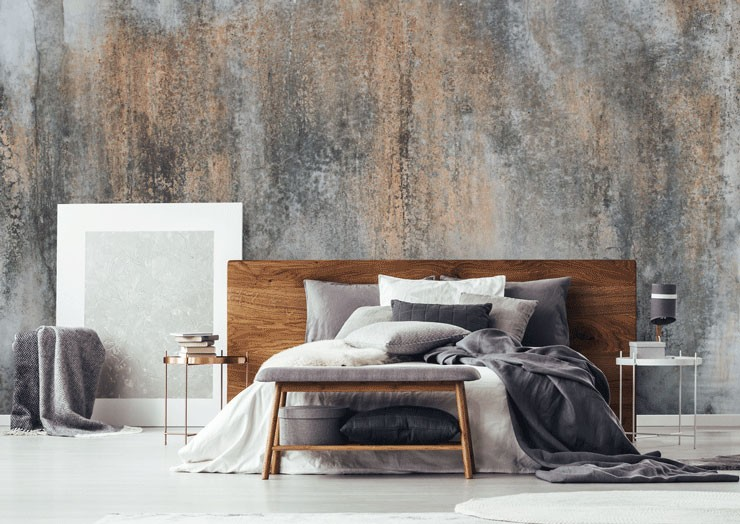 concrete mural as feature wall in bedroom