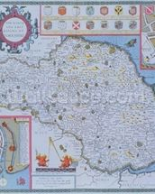The North and East Ridings of Yorkshire, engraved by Jodocus Hondius (1563-1612) from John Speeds Theatre of the Empire of Great Britain, pub. by John Sudbury and George Humble, 1611-12 (hand coloured copper engraving) mural wallpaper thumbnail
