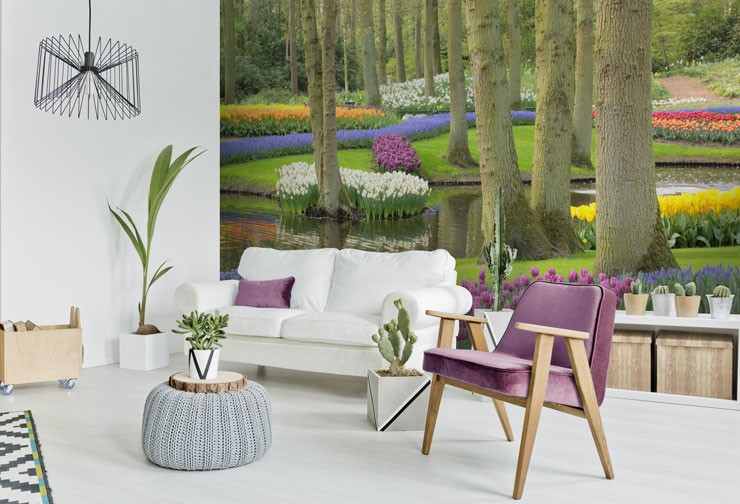 tulip garden wallpaper in trendy white and purple room