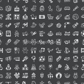 Toy Doodles Charcoal wallpaper mural thumbnail