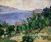 View of Mount Marseilleveyre and the Isle of Maire, c.1882-85 (oil on canvas) wall mural thumbnail